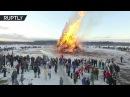 Беспилотник заснял сожжение чучела Масленицы в Никола-Ленивце