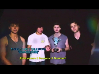5SOS won an award for The Most English Requested Video on Social Media for Girls Talk Boys at #PremiosTelehit