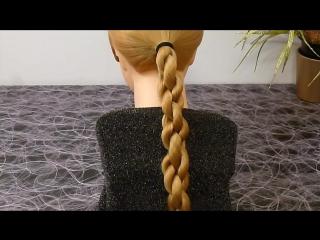 Быстрая причёска в школу самой себе на средние-длинные волосы.ЛЁГКАЯ коса.Плетение кос-волос