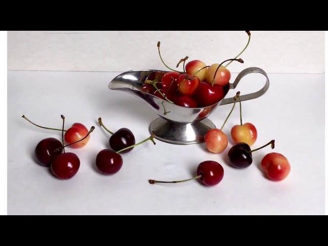 Черешня и металлический соусник.Этюд акварелью с натуры