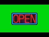 Luminoso Open Animado #1 - Animated Open Sign #1 [Fundo Verde - Green Screen]
