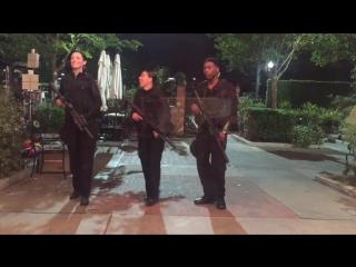 Bridget Regan, Marissa Neitling and Jocko Sims. Shooting the Last Ship