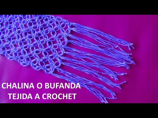 Bufanda o chalina tejido a crochet en punto espuma de mar paso a paso