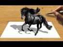 3D Pencil Drawing Black Friesian Horse Speed Draw Jasmina Susak