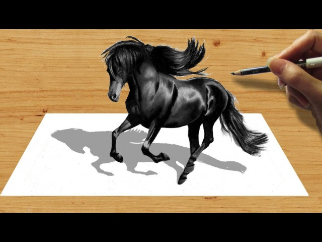 3D Pencil Drawing: Black Friesian Horse - Speed Draw   Jasmina Susak