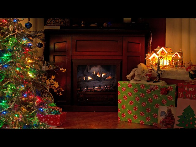 4K FIREPLACE Cozy Christmas Scene 2 HOUR Nature Relaxation Video with Sounds