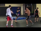 Бойцы М-1 Тимур Нагибин и Мовсар Евлоев - совместная тренировка в школе