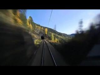 Вид из окна машиниста скоростного поезда