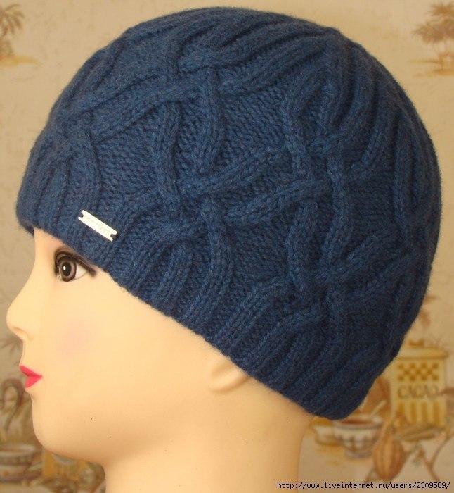 Вязанные теплые двойные шапки спицами 173