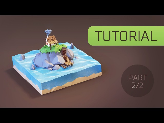 [Tutorial] Creating Low Poly (stylised) Cartoon Hut on the Island in Blender 3d [Part 2]