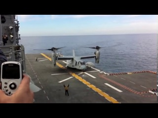 United States Marine Corps Bell Boeing V-22 Osprey a MAGTF landing on a aircraft carrier