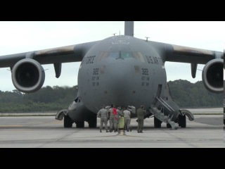 USAF Boeing C-17 Globemasters in flight over the military transport aircraft Joint Base Charleston
