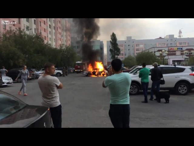Explosion of a vehicle with Beavis and Butt-head