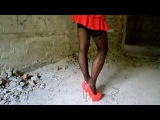 My Legs in Black Stockings and Red patent leather Shoes High Heels