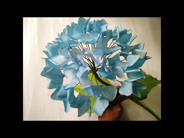 DIY How to make paper flower - Hydrangea Lam hoa Cam Tu cau bang giay nhun
