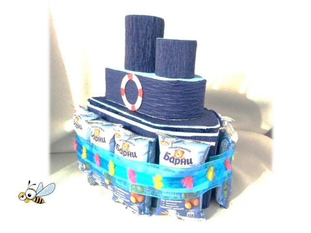 Корабль из конфет свит дизайн
