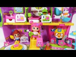 귀여운 토끼 와 함께하는 피니폰 호텔 뽀로로 장난감 놀이 Pinypon Hotel Playset Famosa Dollhouses Toy pororo