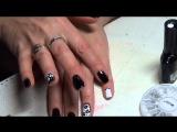 Nail Art   ромашка, на черно белом дизайне!   Nail Art a camomile, on is black white design!