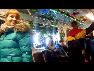 новогодний поезд Еж3/Ем508Т на Кольцевой линии. Декабрь 2016 год