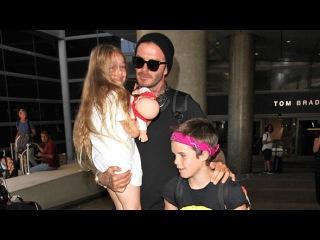 David Beckham Looks So Proud Of Birthday Girl Harper Arriving In L.A.