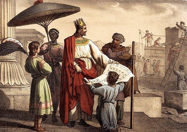 Царь Соломон на строительстве  храма