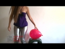 Amateur Belly Dance - Sexy Looner Girl Sit To Pop, Blow to Pop in Disco Color, Tight Yoga Pants