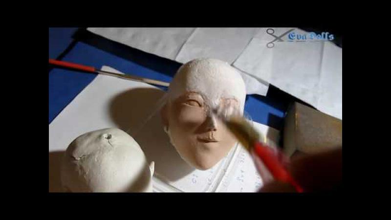 авторская кукла, подготовка перед покраской. art doll tutorial