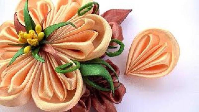 How to Make Flowers Petals Kanzashi, Как Сделать Лепестки Канзаши из Ленты 2 5 см