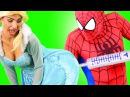 Frozen Elsa Rapunzel's BIG BUTT! w/ Spiderman Joker Anna Superman IRL Superheroes