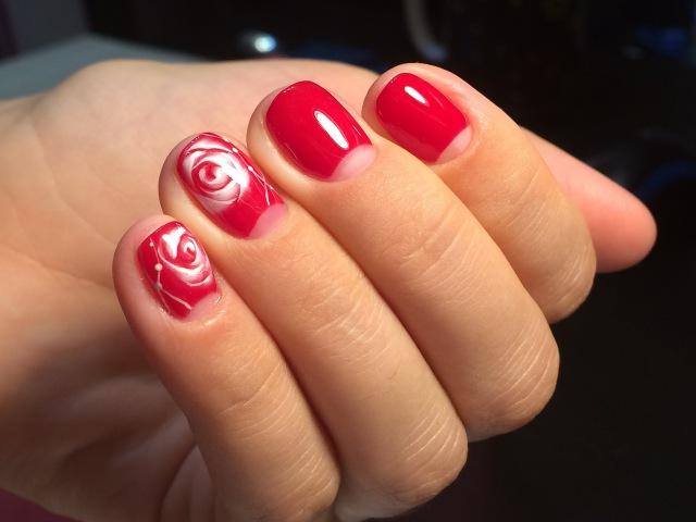 Осенний дизайн ногтей. Как нарисовать розы по мокрому гель лаку. Autumn nail design