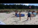 Дикий кабан гоняет отдыхающих на пляже