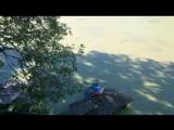 Боня хотела побегать по лужайке , а это оказалось озеро ))