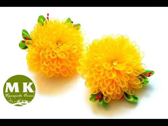 Мастер-класс Канзаши.Резинки для волос Хризантемы.ScrunchyThe flowers of satin ribbons