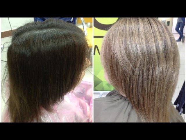 Выведение цвета волос из темного в русый