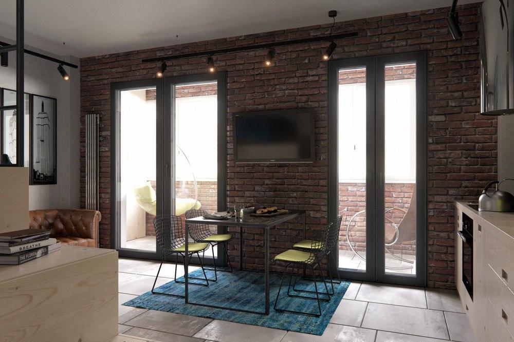 Концепт студии 40 м из однокомнатной квартиры.
