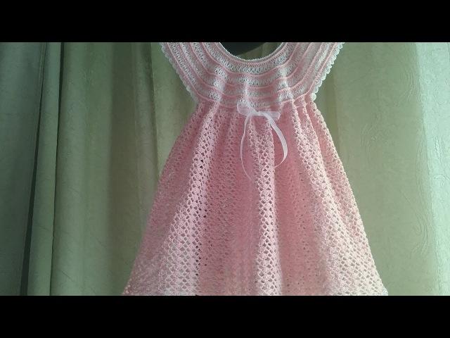 Легкое платье на кокетке мережка крючком