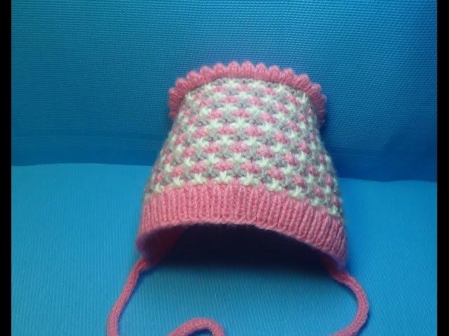 Вязание детской шапочки-чепчика спицами 62