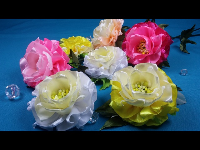 Easy ribbon flowersSimples flores de las cintasПростой цветок из лент