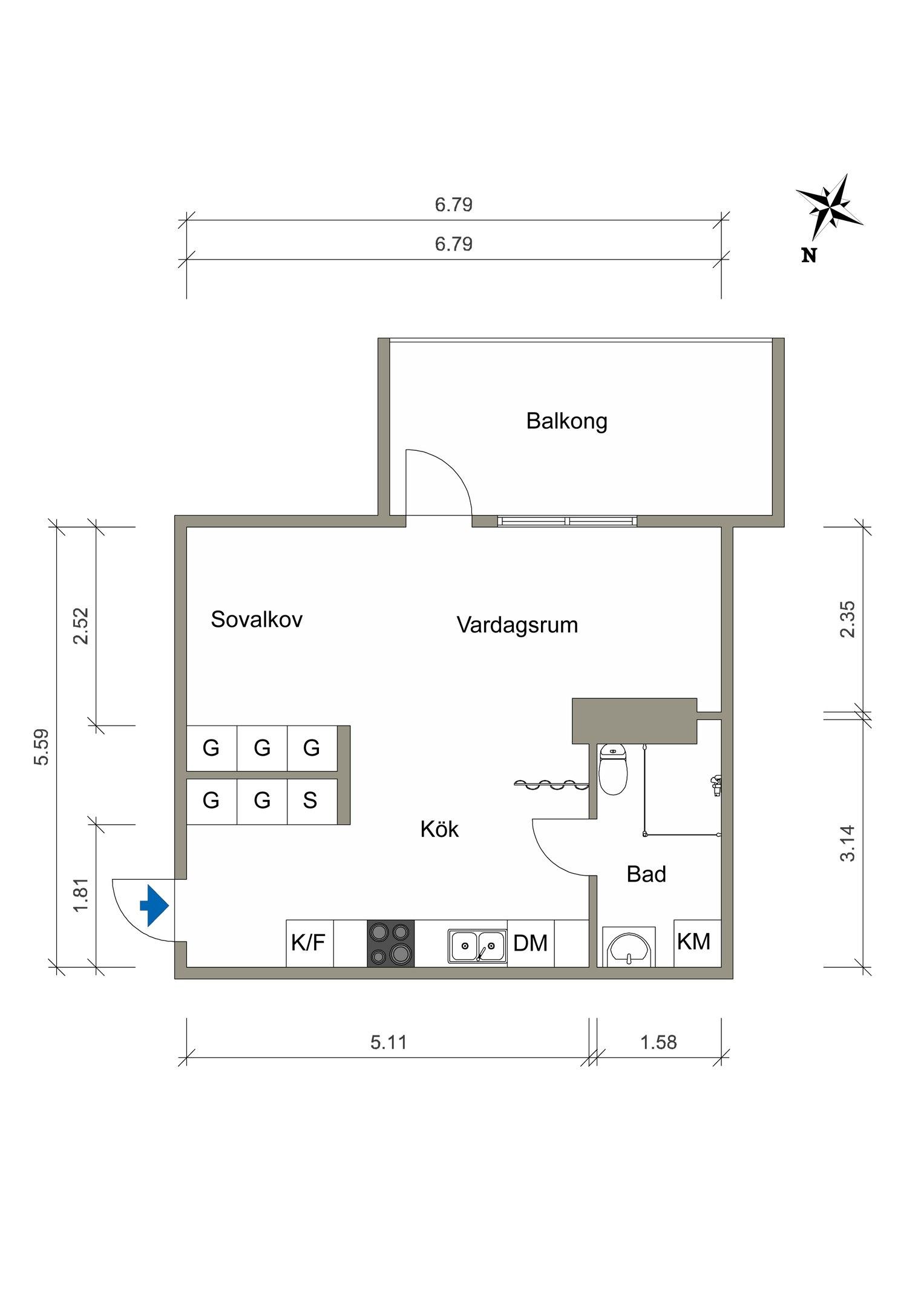 Квартира-студия 37 м.