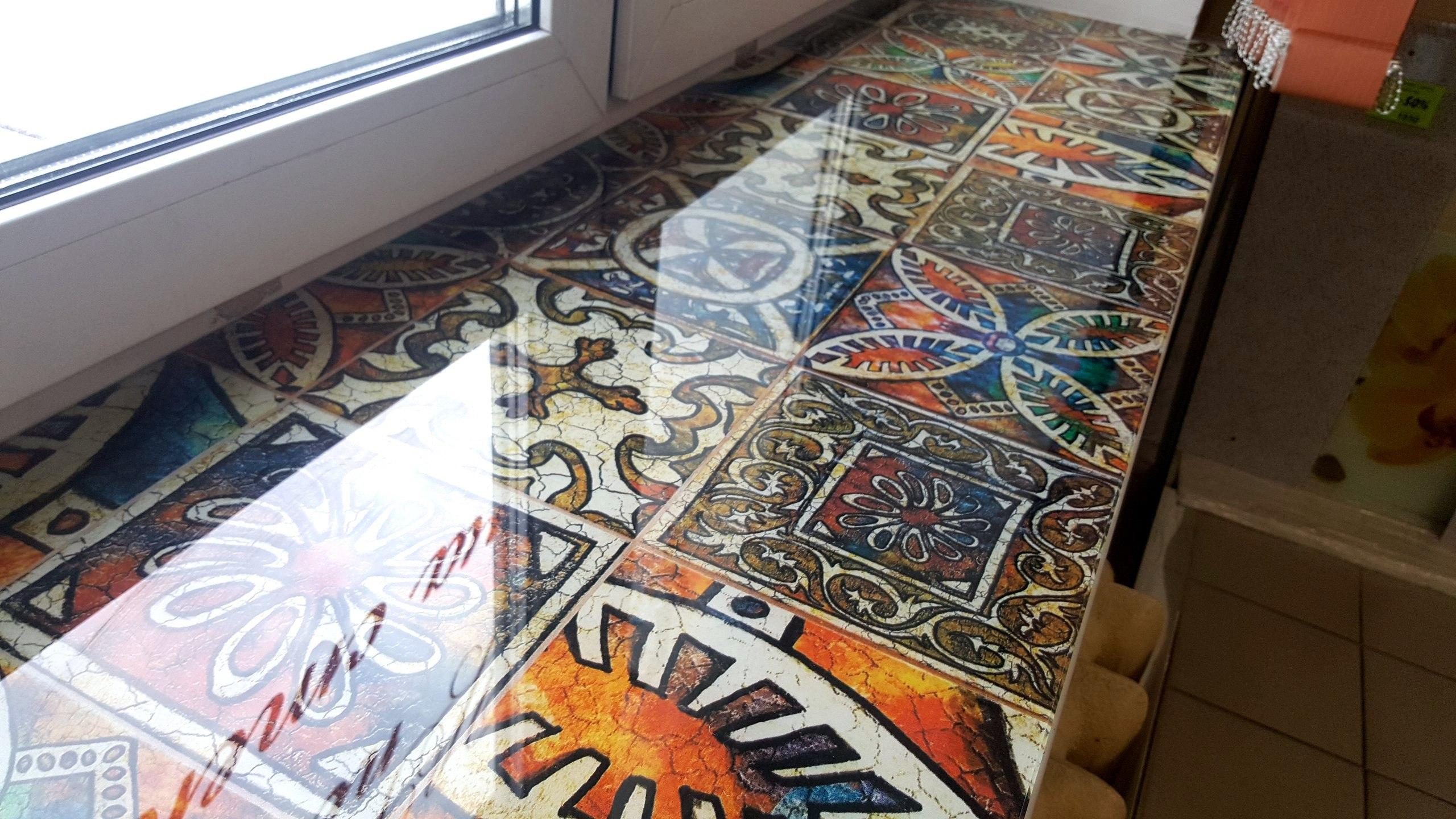 подоконник из закаленного стекла