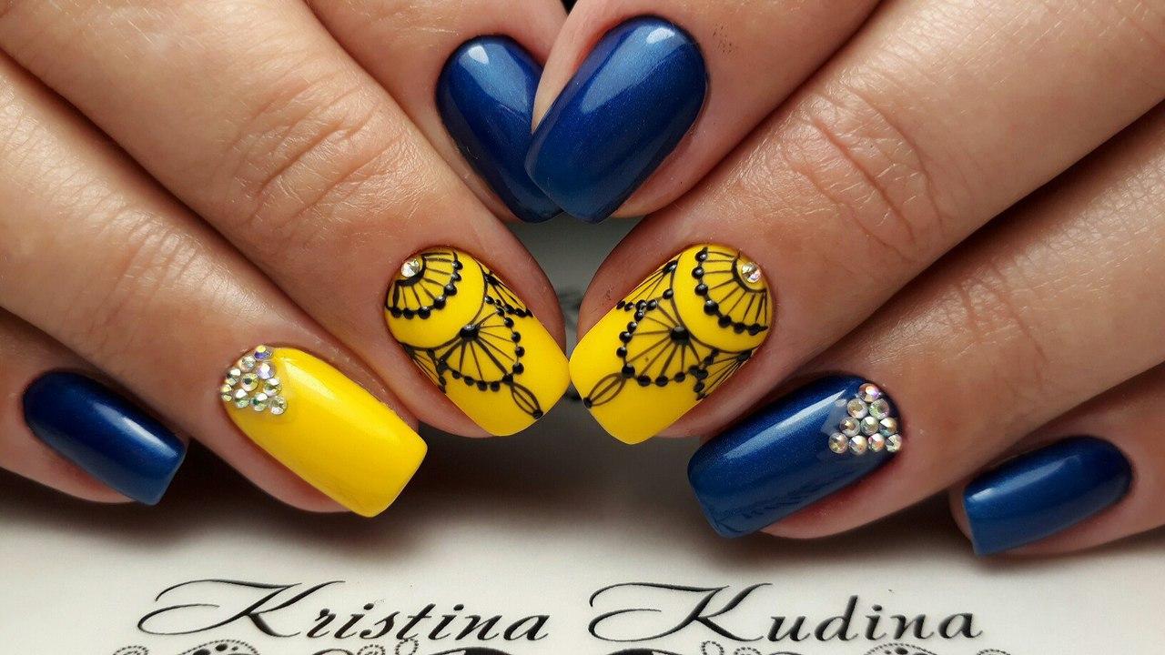 дизайн ногтей в желто синем цвете - Тюменский издательский дом