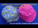 Gorra con Visera para niñas tejida a crochet en punto abanicos en relieve paso a paso