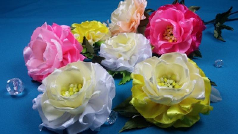 Easy ribbon flowers Simples flores de las cintas Простой цветок из лент