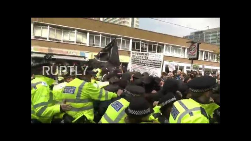 Великобритания: Антифа сталкивается с полицией, защищающей ультраправых активистов в Лондоне.