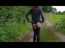 Crossdresser transvestite outdoor walk