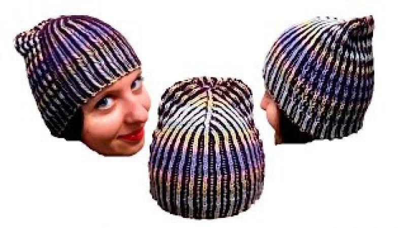 Женская шапка в технике Бриошь спицами. Часть 1 Brioche Stitch Women's hats knitting
