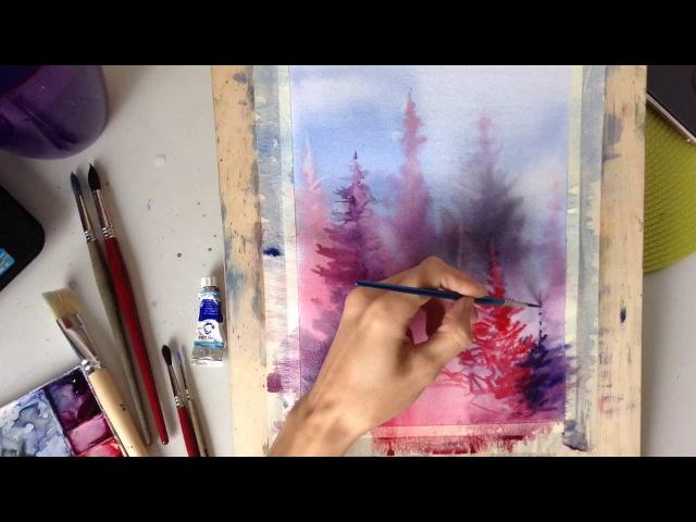 Рисуем пейзаж акварелью по-мокрому