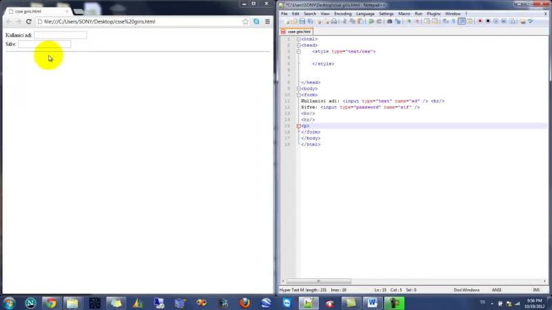 Yakın Kampüs XHTML HTML ve CSS Ders 31 CSSde Formda Şifre ve Dosya Yükleme Alanları