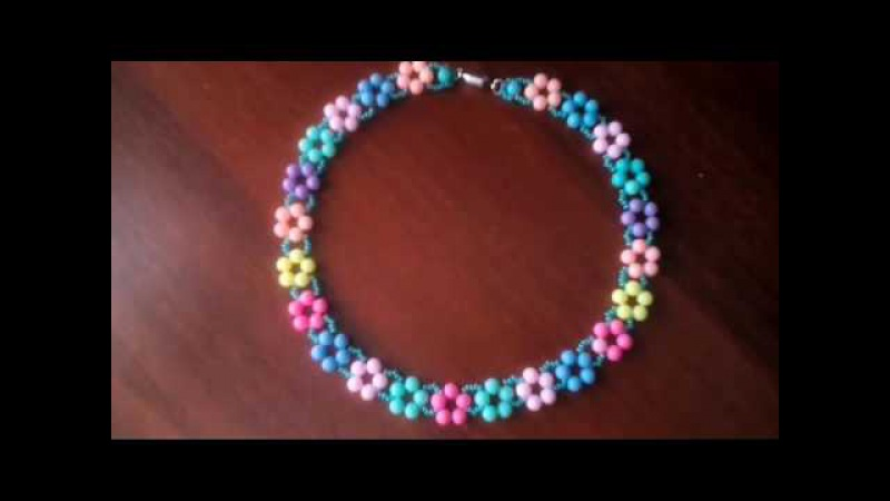 Колье из бисера и бусин Летнее настроение. Мастер-класс. Necklace from beads. Master class