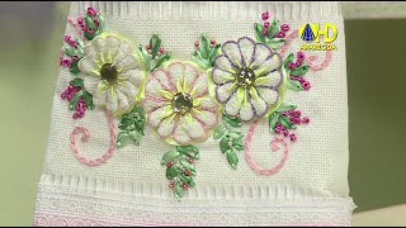 Vida com Arte | Toalha de Lavabo Bordado de Margaridas por Valéria Soares - 26 de Novembro de 2014
